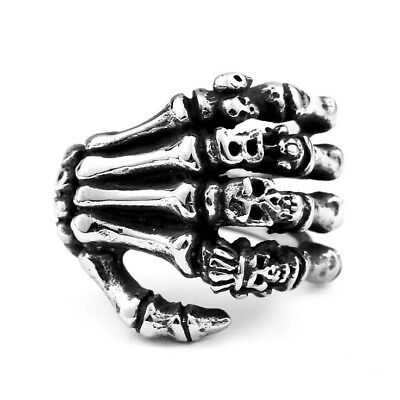 Men/'s Gothic Skull Rings Stainless Steel Biker Punk Cool Blue Skeleton Ring 7-13