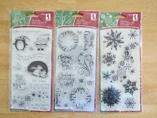lot of 3 Inkadinkado Christmas clear stamps characters snowflakes wishes lot X4
