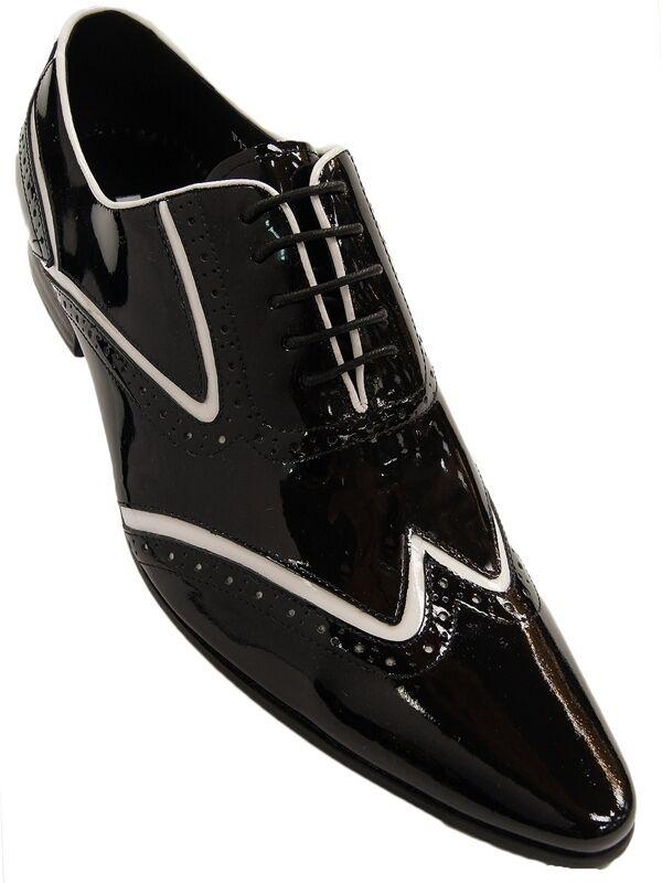 Hommes Fiesso Noir Blanc Cuir verni Bout D'Aile Pointu Laceup formelle robe chaussure