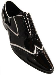 Fiesso Men Black White Patent Leather