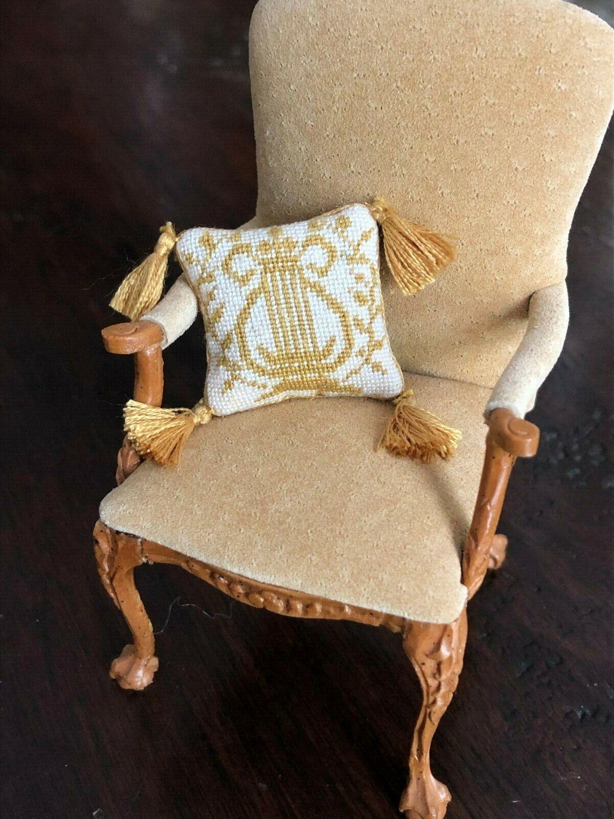 Needlepoint Golden Lyre Cushion Artisan Handmade 1 12th Scale
