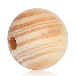 50-Stueck-Runde-Kiefer-Holzperlen-20-mm-Perlen-Holz-Kiefernholz-Schmuck-Basteln