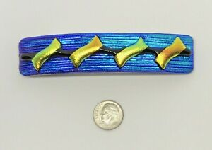 Dichroic-Fused-Glass-Hair-Barrette-Handmade-by-Janet-Wolery-4-034-BLUE-JAY