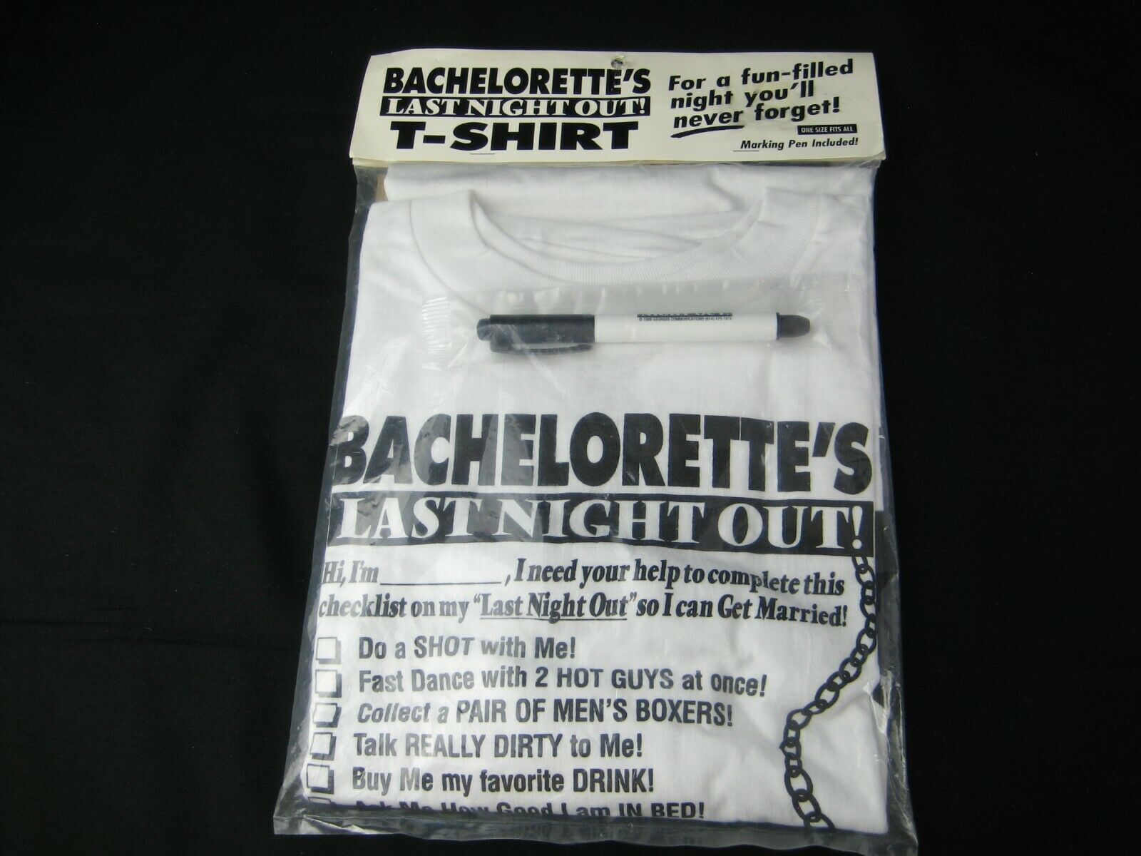 Wedding-Bachelorette's Last Night Out Funny Tee Shirt with Marking Pen -One Size