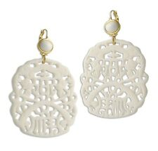Kenneth Jay Lane White Carved Resin Drop Earrings
