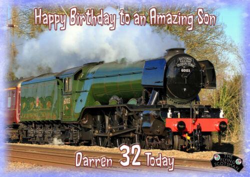 Personalised BIRTHDAY CARD Flying Scotsman Train Papa Fils petit-fils Mari