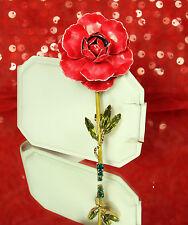 FAB BOOK PIECE! 1940s WEISS Stemmed Rose Brooch Pin~AUSTRIAN CRYSTAL Rhinestones