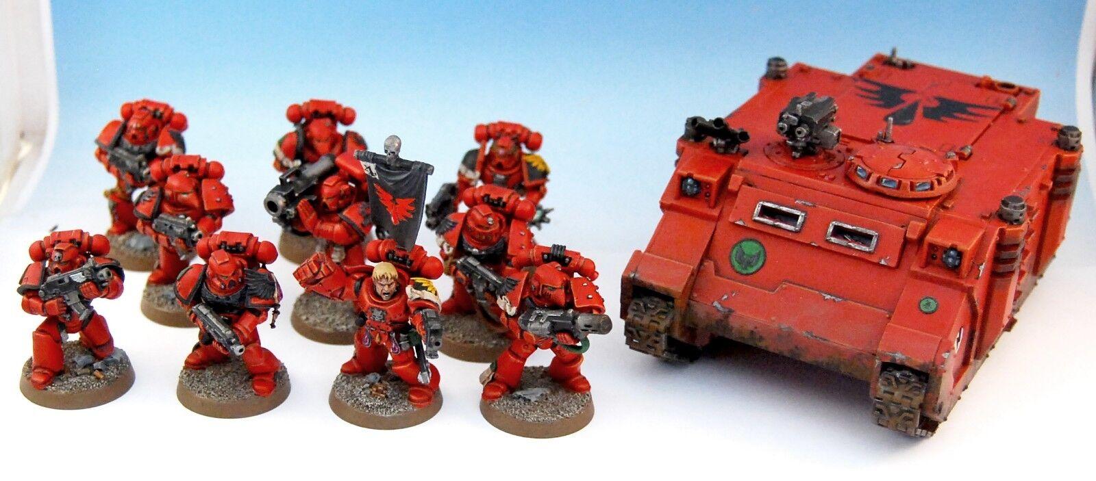 40K Blood Angels Tactical Squad + Rhino Pro Pintado