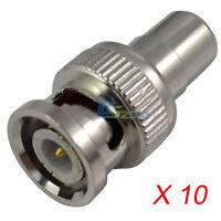 10*Useful BNC Male to RCA Female Coax Plug Adapter Connector Convertor Adaptor