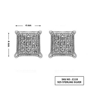 4c4fc7545 Image is loading Stud-Earrings-Sterling-Silver-100-Natural-Round-White-