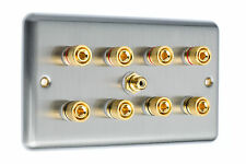 7.2 Surround Sound Speaker Wall Face Plate Gold Binding Posts Stainless Steel