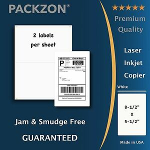 200 Shipping Labels 8.5x5.5 Rounded Corner Self Adhesive 2 Per Sheet PACKZON®