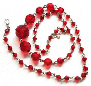 Vintage-Art-Deco-Czech-Red-Faceted-Glass-Bead-Necklace