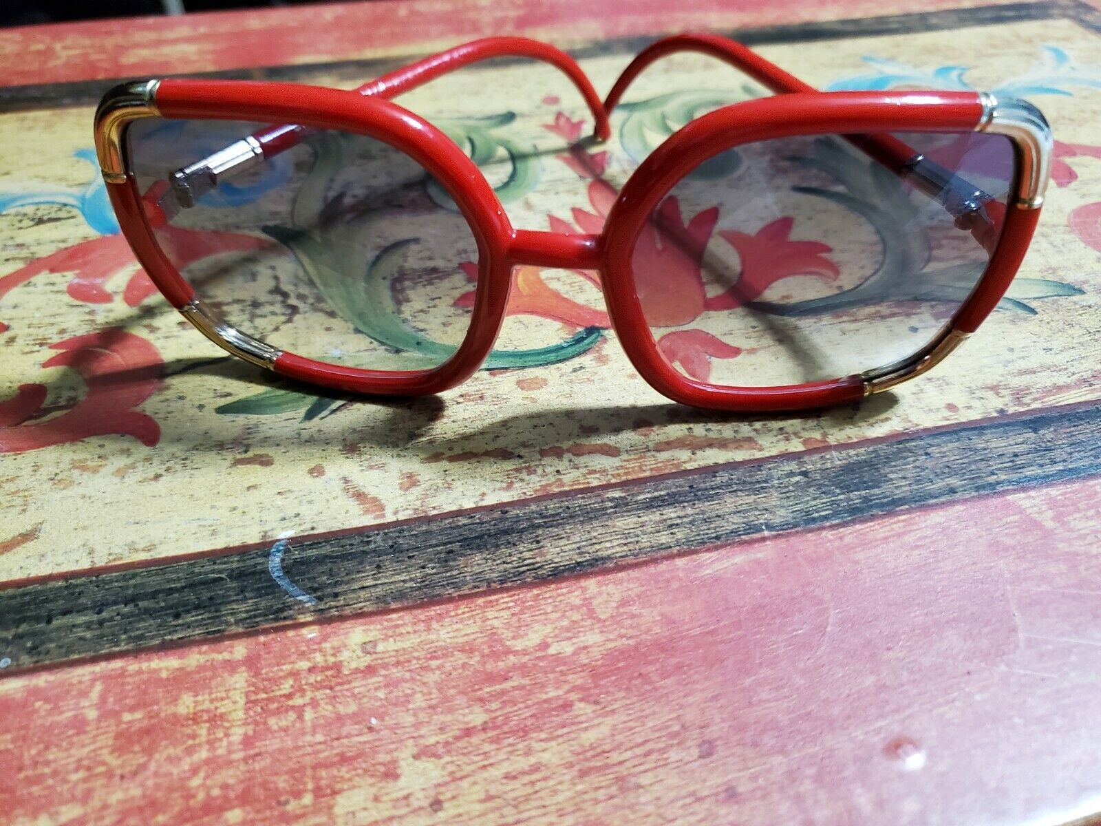 Vintage Red/Gold Ted Lapidus 1970's Oversized Sun… - image 1