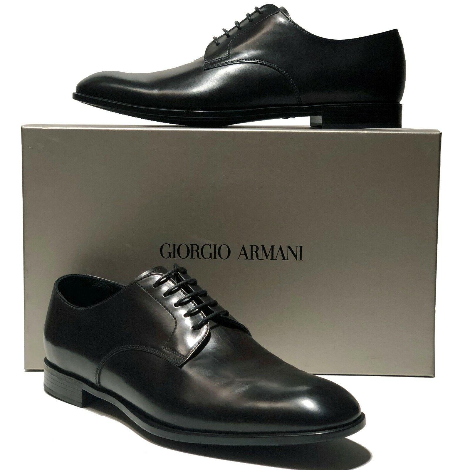 liquidazione Giorgio Armani ITALY nero Leather Formal Formal Formal Dress Oxford Uomo 9.5 scarpe Tuxedo  vendita di offerte