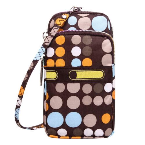 Women/'s Colorful Waterproof 3 Layers Zipper Cellphone Wrist Handbag Clutch Purse