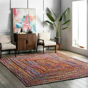 Multi-Color-Bohemian-Braided-Area-Reversible-Cotton-Chindi-Hand-Woven-Rug-Carpet