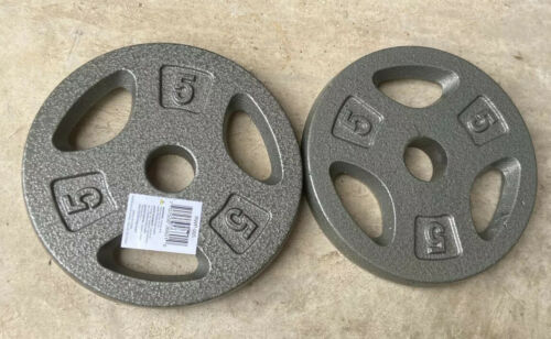 """10 Lb Total 5 LB Pound Lot Of 2 1"""" Standard Grip Barbell Weight Plates CAP"""