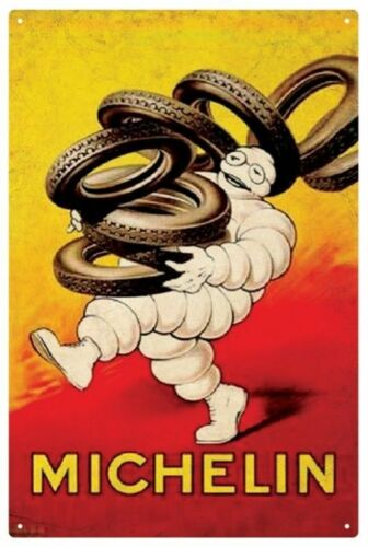MICHELIN MAN TYRES VINTAGE  TIN SIGN 30 x 45 cm Red