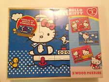 Sanrio 3 PCS Hello Kitty Real Wood Jigsaw Puzzles in Wooden Storage 047754083934