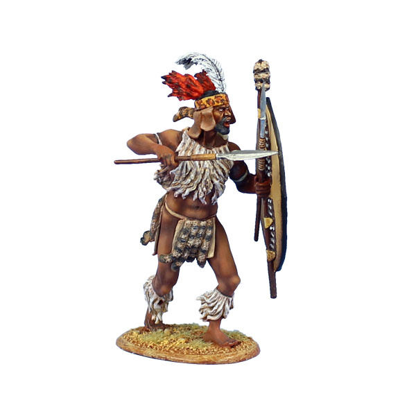 ZUL017 uMbonambi Zulu Warrior with Spear and Shield by First Legion