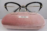 Miu Miu Vmu 53o 1ab-1o1 Shiny Black On Gold Authentic Eyeglasses 50mm W/case