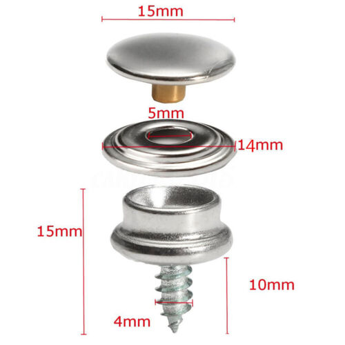 15 Sets Press Studs Kit Heavy Duty Snap Fasteners Stainless Steel Buttons DIY