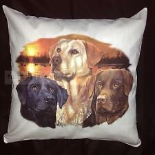 Three Labrador Retrievers Breed of Dog Group Cotton Cushion Cover - Perfect Gift