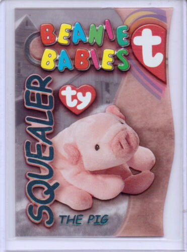 1999 TY BEANIE S3 TURQUOISE CARD INSERT SQUEALER THE PIG BABIES SIDE #29