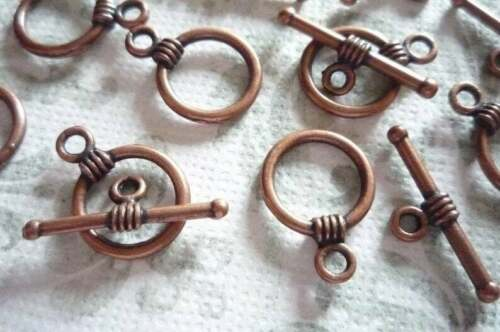 Qty 9 Sets Antiqued Copper 11mm Simple Toggle Clasps