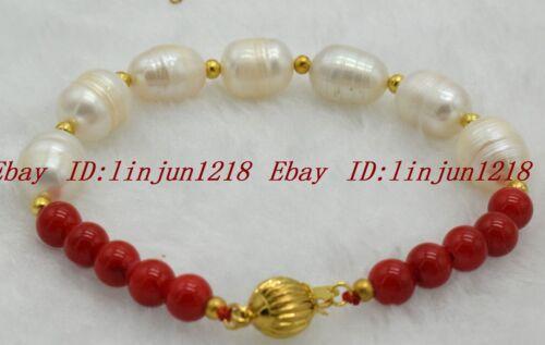 "Dc-292 blanc 10-11 mm Natural Pearl /& 6 mm Rouge Rond Naturel Corail Bracelet 7.5/"""