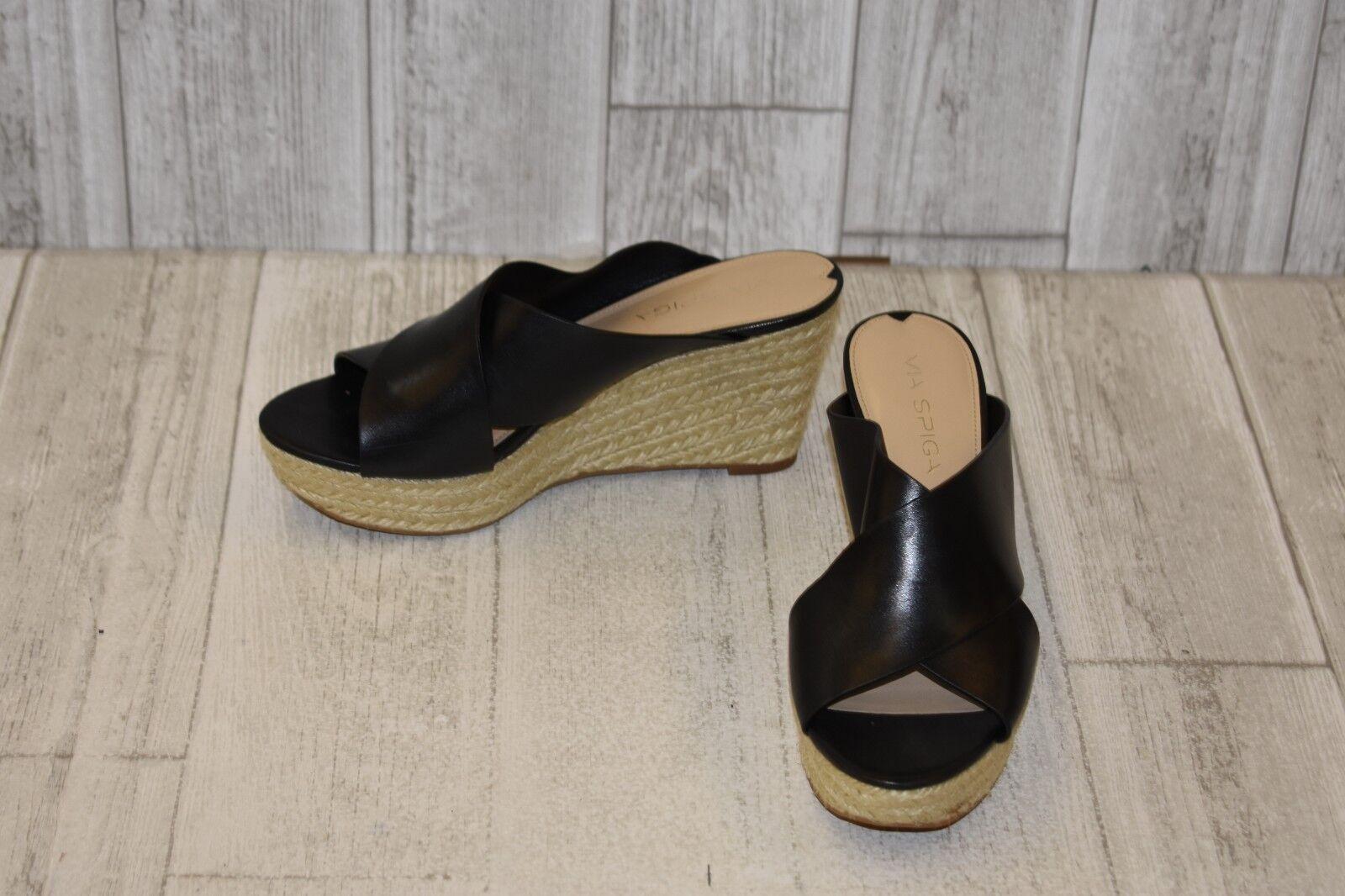 Via Spiga Leather Platform Wedge Sandals, Women's Size 6.5M, Black