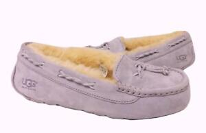 New-NIB-Ugg-Brett-Moccasin-Slippers-Suede-Shearling-Heathered-Lilac-Lavender