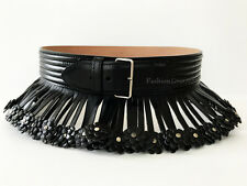 SPECTACULAR ALAIA BLACK LEATHER FRINGE STUDDED FLOWER BELT 65 CM