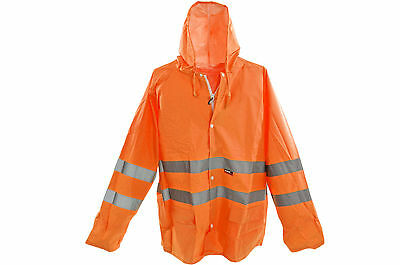 Clever Hi Viz Vis Rain Coat Jacket High Quality Workwear Waterproof Orange Various Size