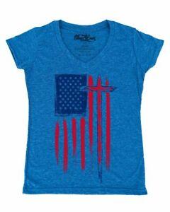 USA-Flag-with-Cross-Women-039-s-V-Neck-T-shirt-American-Christian-Jesus-Faith-Tee