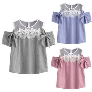 Summer Women Casual Floral Lace Short Sleeve Striped T Shirt Tank