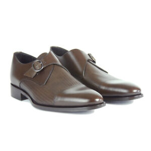 Neuf Canali Marron Chaussures Cuir - Moine Bretelles - 9.5/8.5 -