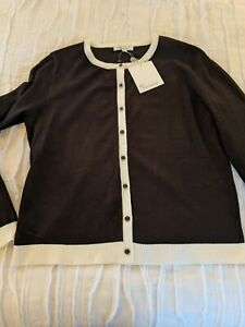 Objective 89 The And Madison Black Cardigan With Cream Trim Sz M Classic A Great Variety Of Goods