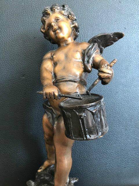 Bronze Figurine Sculpture vintage Art Nouveau Ange drapeau avec tambour vintage Sculpture 31 cm signé 9bbb88