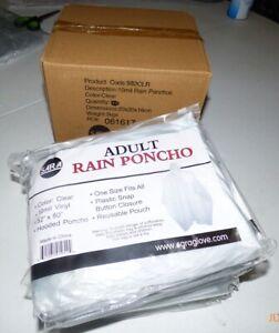 Disposable Rain Poncho Pack of 6 Emergency Adult Transparent Raincoat Adult