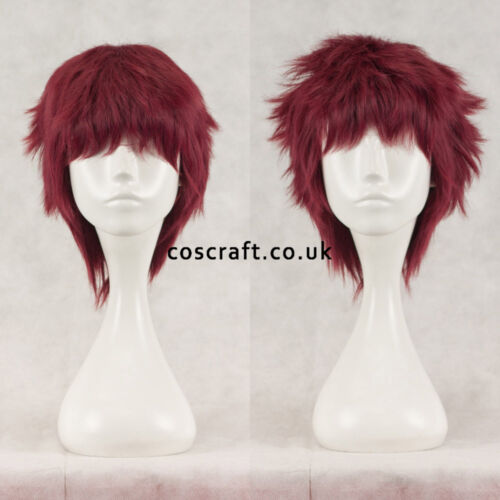 Short layered fluffy spikeable cosplay wig UK seller Jack style mahogany red