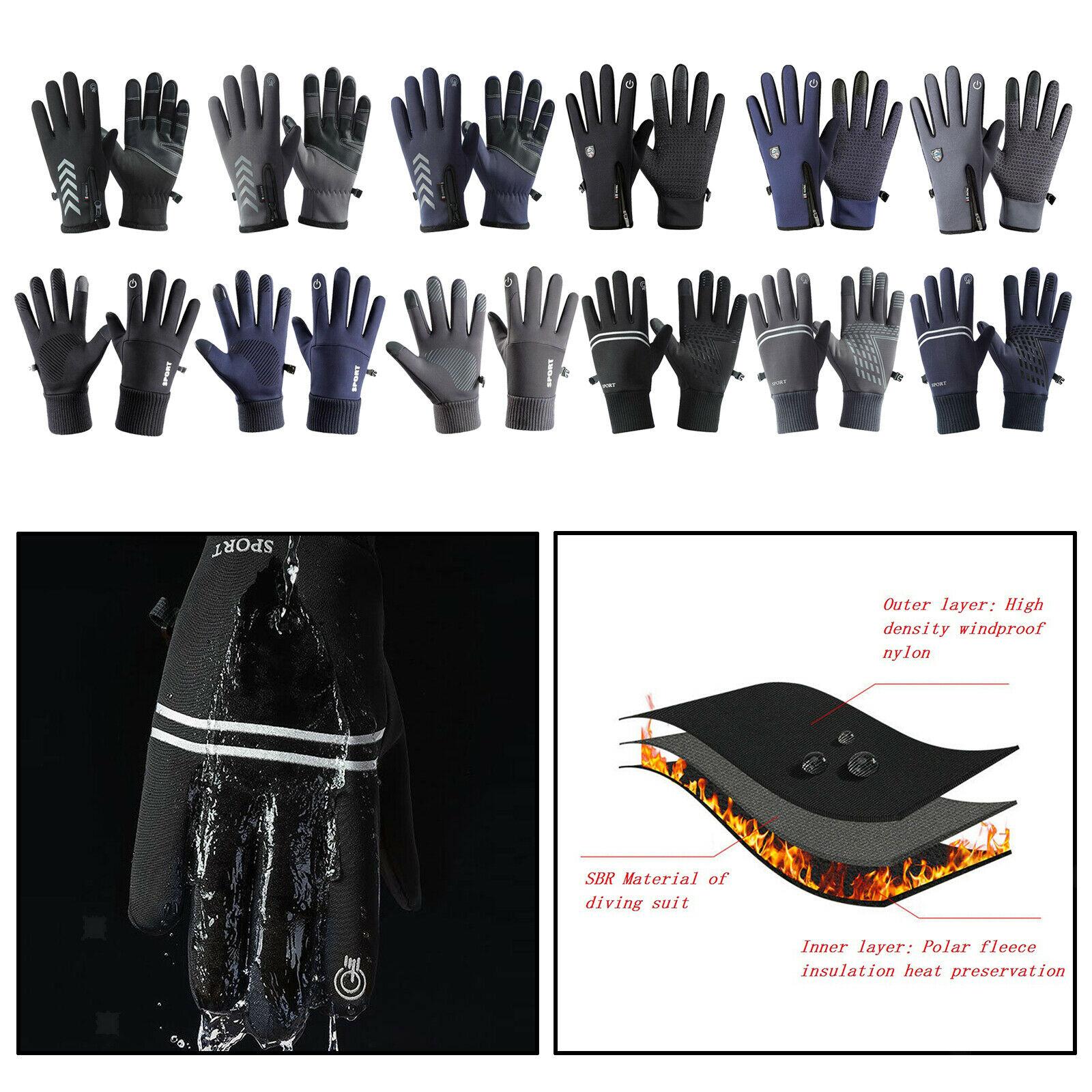 Outdoor Winter Bike Glove Cycling Motorcycle Riding Thermal Fleece Lining Mitten