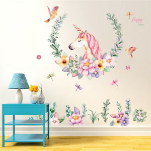Unicorn-Flowers-Room-Home-Decor-Removable-Wall-Stickers-Decal-Decoration