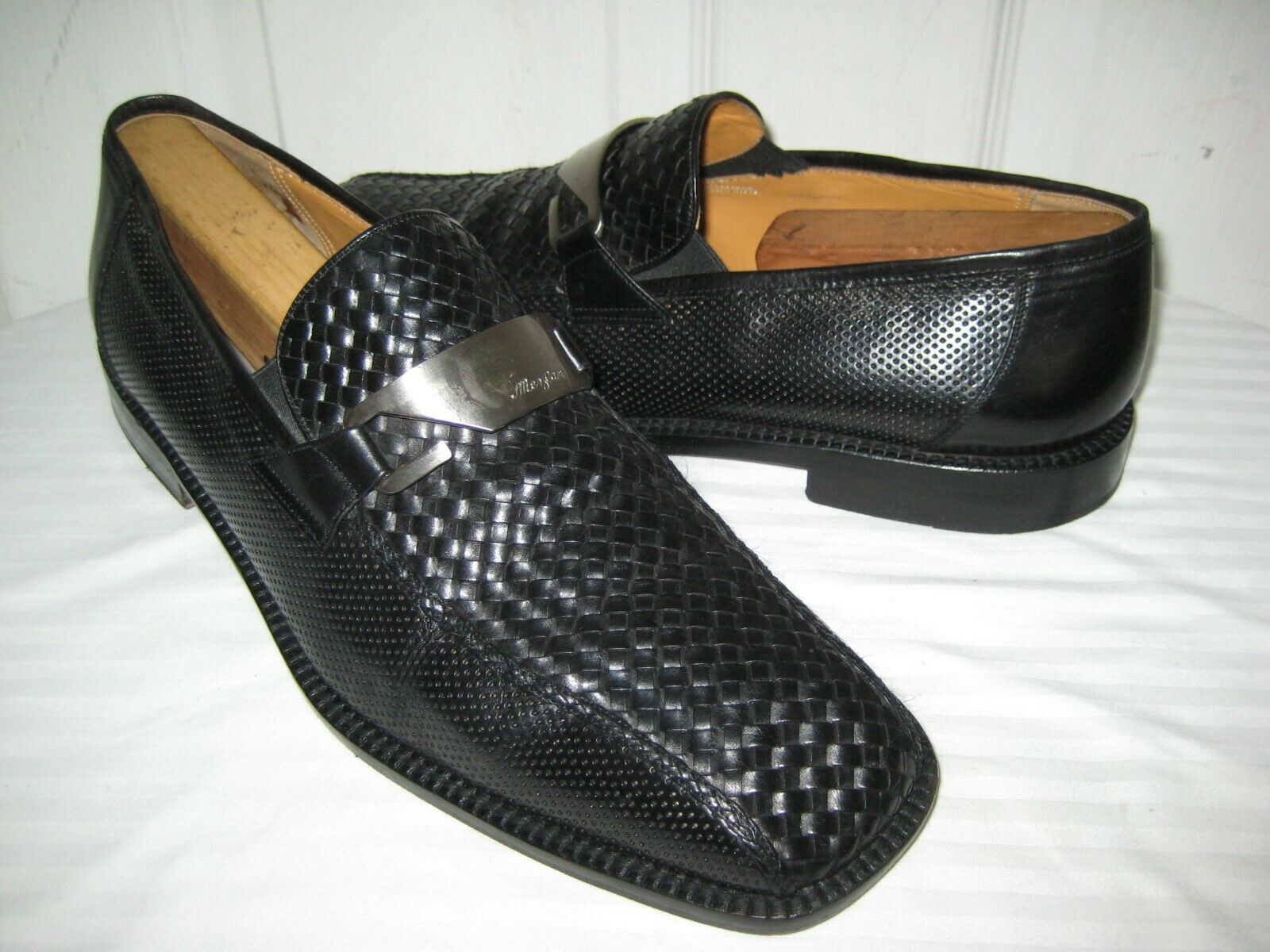 Mezlan Black Leather Hand Made Woven Loafer shoes Men's Size 11 M.