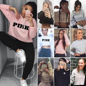 Womens-Girls-Casual-Crop-Top-Pullover-Hooded-Sweatshirt-Jumper-Hoodie-Outwear