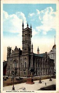 Vtg 1920's Masonic Temple Building, Philadelphia Pennsylvania PA Postcard