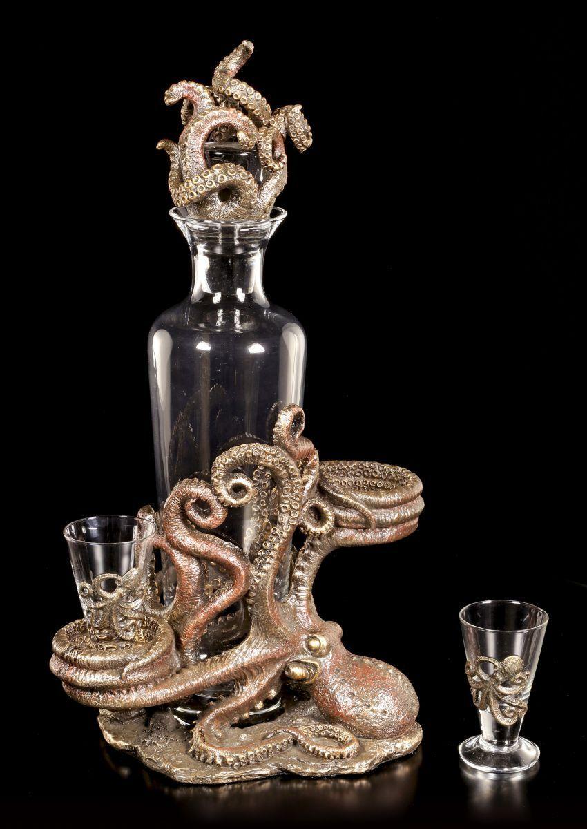 Steampunk Pulpo Botellas & Soporte - Veronese Decoración Fantasy Gótico
