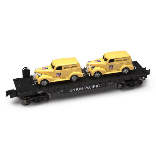 Menards  O Gauge Flatcar with Two Union Pacific Panel Cars