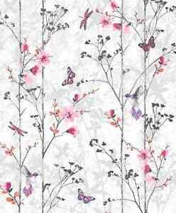 Image Is Loading Trees Erflies Birds Pink Flowers Feature Designer Wallpaper